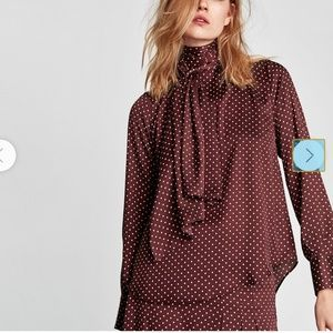 Zara Maroon Polka Dot Blouse with Bow Detail